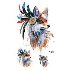 Wyuen Hot Design Temporary Tattoo for Adults Waterproof Tatoo Sticker Body Art Tribal Wolf Head A-069 Fake Tattoo Man Woman