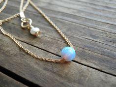 Opal Jewelry Opal Necklace Tiny One 4mm Opal by AnnalisJewelry, $32.00