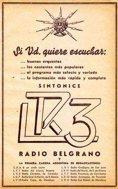 Publicidad Radio BELGRANO, Buenos Aires, 1938.