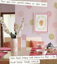 Floral allover stencil pattern on a wall and the Charlotte Framed Cameo Set on the wall canvas! The Bari J Stencil Collection is 15% off through January 27th with code VERYBARI.