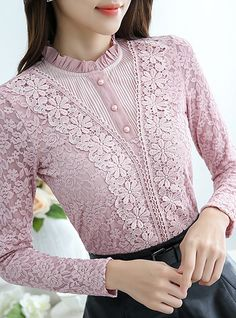 Big yards Women's clothing Lace shirt Long sleeves Self-cultivation Shirt Sleeves Designs For Dresses, Dress Neck Designs, Kurti Neck Designs, Blouse Designs, New Dress Design Indian, Fancy Dress Design, Lace Top Outfits, Classy Outfits, Embroidery Fashion