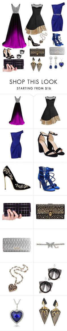"""Three Sisters on Prom Night"" by mariahstockdale ❤ liked on Polyvore featuring Roland Mouret, Nasty Gal, Alexander McQueen, Miu Miu, Gucci, Fallon, Icz Stonez and Alexis Bittar"