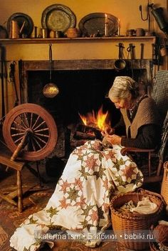 Tasha Tudor sitting by the fireplace stitching a quilt Tudor, Art Original, Antique Quilts, American Artists, Country Life, Life Is Beautiful, Fine Art, Illustrators, People