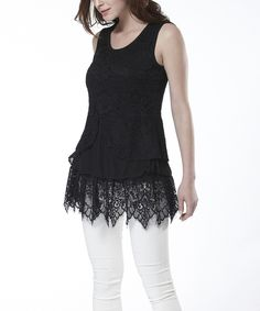 Look at this #zulilyfind! Simply Couture Black Lace-Tier Sleeveless Top by Simply Couture #zulilyfinds