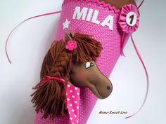 """Schultüten - Schultüte """" Pony Pink Brown """" Pferd - ein Designerstück von Home-sweet-love bei DaWanda"""
