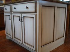 cabinet with heavy brown glaze