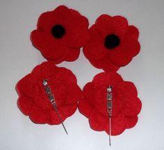 Poppy Flower Brooch- Red Felt Poppy Brooch/Pin