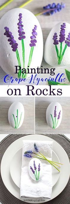 how to paint grape hyacinth.  painted rocks Rock Painting For Kids, Rock Painting Ideas For Kids, Kids Painting Projects, Kid Painting, Rock Art, Rock Rock, Painted Rocks Craft, Painted Garden Rocks, Painted Stones