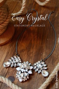 This easy crystal DIY statement necklace uses ready-to-use & easy-to-assemble pendants so you only need a few supplies to make a fun & unique necklace!