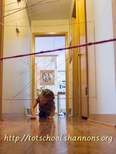 Yarn laser maze-- This could even be fun for teens if created challenging enough.