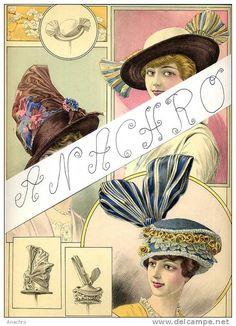 CHAPEAU CHAPEAUX  GRAVURE De MODE  Haute Couture 1914 / Créations Maison FELIX PARIS / Original 37 X 27 Cms - Coiffes, Chapeaux, Bonnets