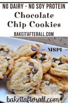 No Dairy Diet, Dairy Free Milk, Dairy Free Queso, Protein Chocolate Chip Cookies, Dairy Free Cookies, No Dairy Recipes, Baking Recipes, Organic Recipes, Chocolate Deserts