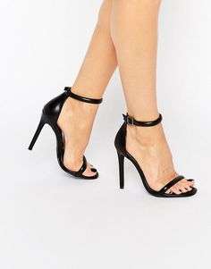 Image 1 of Missguided Round Strap Barely There Heeled Sandal