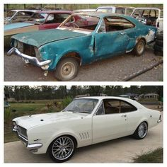Quite a transformation! Australian Muscle Cars, Aussie Muscle Cars, Classic Cars British, Ford Classic Cars, Holden Torana, Holden Australia, Car Facts, Classic Car Restoration, Abandoned Cars