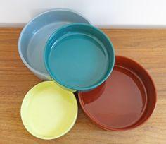 Melitta-Schalen-Set-4x-Schuessel-Keramik-gruen-gelb-blau-braun-Form-3