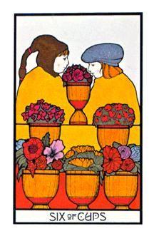 Six of Cups - The Aquarian Tarot Deck. Artist: David Palladini, published by Morgan Press, 1970. Art Deco Style