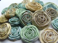 Sun Kiss handmade paper flowers aqua green and yellow by ilovethis, $12.00