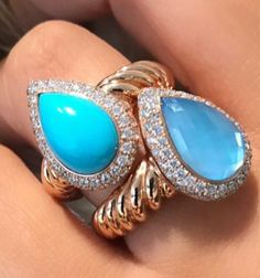 Natural turquoise and blue quartz ring surrounded with diamonds and 18kt rose gold.