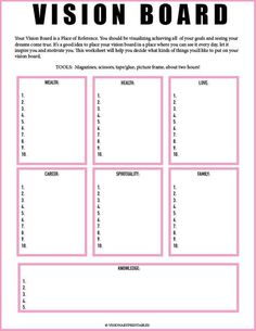 Board Worksheet// Vision Board Checklist// Law of Attraction// Visualization Worksheet// Mind Get Your Personal Walking Plan and Transform Your Body 🔥🔥🔥 PINK Vision Board and Vision Frame Goal Board, Creating A Vision Board, Create A Board, Visualisation, Goal Planning, Party Planning, Business Plan Template, Life Plan Template, Inspirational Artwork