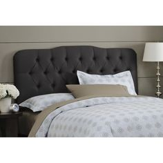 Buy Tufted Arch Upholstered Headboard Size: Full, Finish: Black