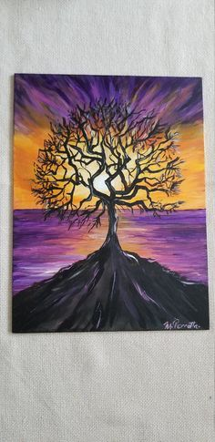 Acrylic Painting Trees, Tree Of Life Painting, Purple Painting, Canvas Painting Tutorials, Diy Canvas Art, Tree Paintings, Creative Painting Ideas, Tree Painting Easy, Chalk Painting
