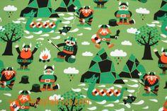 VIKINGS++Organic+jersey+fabric++Green++Lillestoff+by+Funnyfabrix,+$12.99