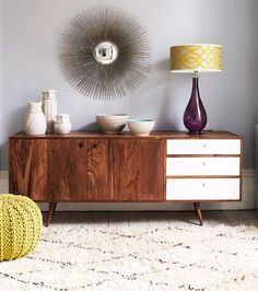 Seventies styled sideboard in living room