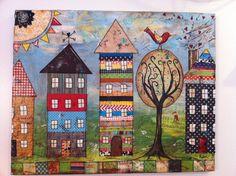 16x20 Mixed media canvas House Village   FREE by heartfeltByRobin, $130.00