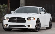 Blacked out white Dodge Charger. <3 my next car <3