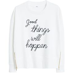 Mango Printed Message Sweatshirt, Natural White (81 BAM) ❤ liked on Polyvore featuring tops, hoodies, sweatshirts, sweatshirt, pulli, sweaters, white long sleeve top, white crew neck sweatshirt, crewneck sweatshirt and white crewneck sweatshirt