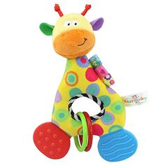Colorful Kids Baby Stuffed Plush Animal Toy Rattle Squeaky Developmental Toy S