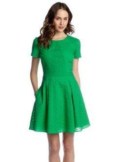 CYNTHIA Cynthia Rowley  Short Sleeve Solid Fit  Flare Pieced Eyelet Dress with Pocketsbr