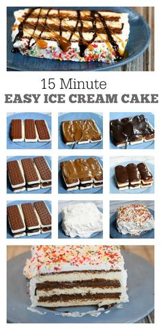 Easy Ice Cream Cake:  seriously the easiest-ever to make summer dessert recipe.  It won't take you any longer than 15 minutes to make, then pop into the freezer to eat later.  Everyone loves this dessert!  Great recipe for 4th of July or another summer event!