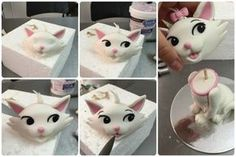 Marie the Cat Mini Fondant Tutorial Cat Cake Topper, Cake Topper Tutorial, Fondant Tutorial, Cake Toppers, Cake Decorating Supplies, Cake Decorating Techniques, Cake Decorating Tutorials, Fondant Figures, Fondant Cakes