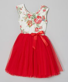 Red Floral Tutu Cap-Sleeve Dress - Infant, Toddler & Girls by Designer Kidz on #zulily