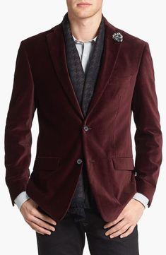 Michael Kors Trim Fit Velvet Blazer in Purple for Men (Burgundy) - Lyst. Blazer Outfits Casual, Velvet Blazer Mens, Men Blazer, New Mens Fashion, Men's Fashion, Burgundy Blazer, Ron Burgundy, Wedding Men, Corduroy Blazer