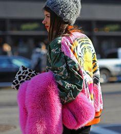 Camo street style pink fur