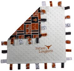Texas Longhorn tag blanket. White dotted minky with Future Longhon and steer head embroidered on the front. on Etsy, $24.99