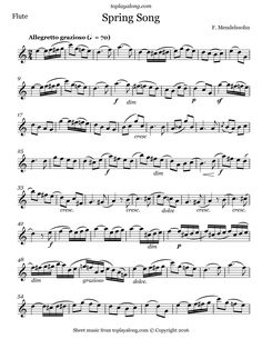 Spring Song by Mendelssohn. Free sheet music for flute. Visit toplayalong.com and get access to hundreds of scores for flute with backing tracks to playalong.