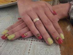 #nail designe#red#yellow#flower