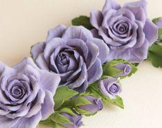 Capelli clip fiore artificiale.   Pervinca (Lilla, viola) rosa con boccioli.