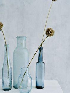 I love glass bottles with (or without) single stems