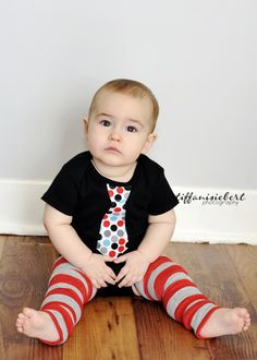 RED and BLACK dots NECKTIE appliqued on a black / white  baby bodysuit........Great  birthday, wedding or church outfit. $14.99, via Etsy.