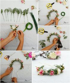 hair wreaths How to Have the Bride Bouquet and Lick Boutonniere Equilibrium? Flower Girl Crown, Flower Crown Wedding, Diy Wedding Flowers, Floral Crown, Diy Flowers, Flowers In Hair, Paper Flowers, Simple Flower Crown Diy, Flower Crown Tutorial