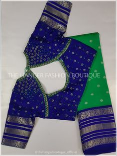Unique blouse design The Hanger Fashion Boutique. Reach us at 9490192436 to customize your order. Unique blouse design The Hanger Fashion Boutique. Reach us at 9490192436 to customize your order. Pattu Saree Blouse Designs, Simple Blouse Designs, Stylish Blouse Design, Fancy Blouse Designs, Wedding Saree Blouse Designs, Tunic Designs, Lehenga Blouse, Wedding Sarees, Sari Bluse