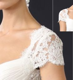 Detachable sleeve. Gorgeous Alencon lace cap sleeves. Would be a lovely addition to your strapless gown for some extra support or a 2nd look. Have these cap sleeves custom made for yourself on My online store- www.rosemarydesigns.org, oremail me direct at Rosemarydesignsbride@gmail.com