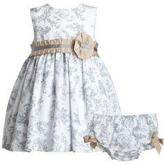 White & Grey Toile De Jouy Dress Set - Dresses - Baby   Childrensalon