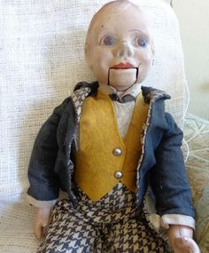 Antique Ventriloquist Doll, Creepy Charlie McCarthy or Mortimer Snerd Style Dummy, c. 1930s