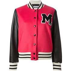 Moschino varsity bomber jacket (1 590 AUD) ❤ liked on Polyvore featuring outerwear, jackets, tops, coats, casacos, red, patch jacket, red letterman jacket, varsity bomber jacket and teddy jacket