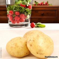 Как сделать овощи хрустящими Если овощи перестали хрустеть (или, например, Вы сразу купили огурцы, редис или морковь, которые не «хрумкают»), это можно исправить: опустите овощи в ледяную (!) воду вместе с половиной свежего картофеля на 3-5 минут
